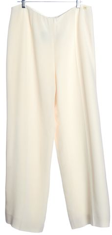 CHANEL Ivory Sheer Silk Pleated Wide Leg Trousers Pants
