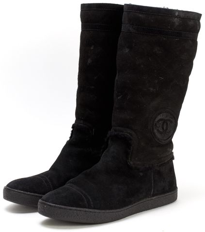 CHANEL Black Quilted Suede Sheepskin Lining Cap-toe Mid-calf Boots
