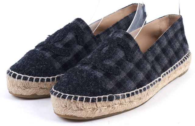 CHANEL Gray Tartan Wool Cap-Toe CC Espadrille Flats