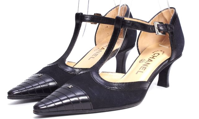 CHANEL Black Leather Suede T - Strap Low Heels