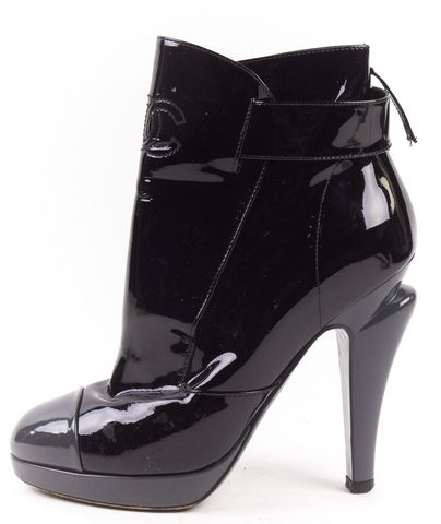 CHANEL Black Gray patent Leather Cap Toe CC Ankle Boots