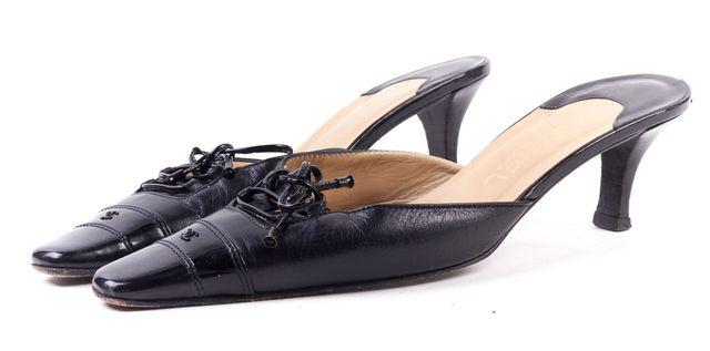 CHANEL Black Leather Slide-On Mules Kitten Heels