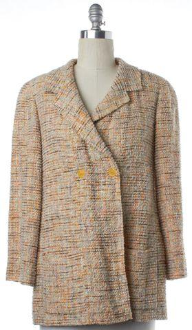 CHANEL Beige Multi Color Tweed Double Button Coat