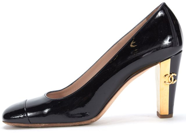 CHANEL Black Patent Leather Gold Heel Pumps