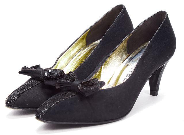 CHANEL Black Satin Sequin Bow-tie Heels