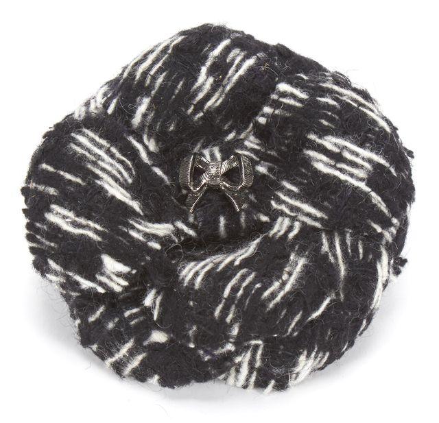 CHANEL Black White Tweed Camellia Brooch