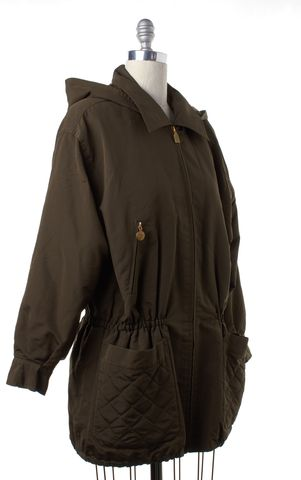 CHANEL Olive Green Silk Gold Zip Up Hooded Jacket Coat