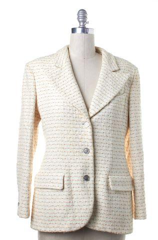 CHANEL Ivory Beige Tweed Silver Button Down Jacket