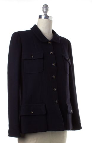 CHANEL Black Wool Button Up Jacket Fits Like a 10