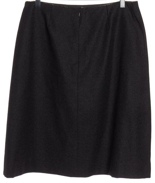 CHANEL Gray Wool Straight Skirt