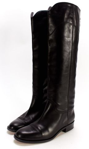 CHANEL Black Leather Stitch Logo Knee-high Riding Boots