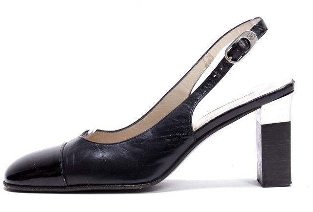 CHANEL Black Leather Slingback Heels