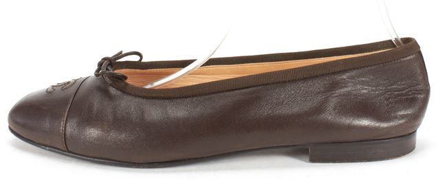 CHANEL Brown Leather Ballet Flats