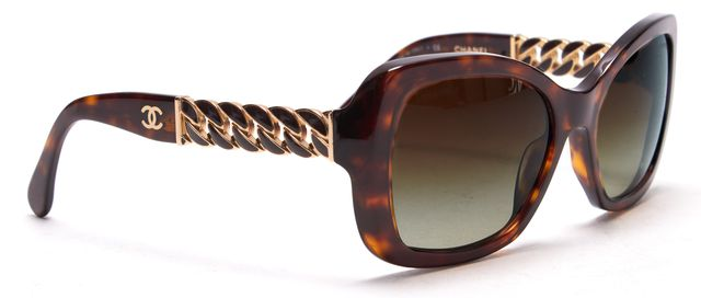 CHANEL Brown Tortoise Shell Chain Detail Acetate Gradient Square Sunglasses