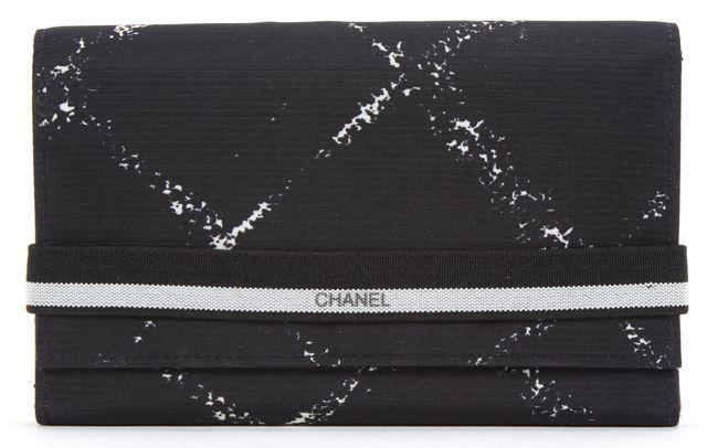 CHANEL Back Nylon Print Elastic Band Closure Wallet