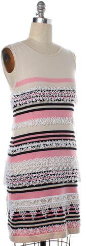 CHANEL Ivory Pink Black Striped Cashmere Knit Sheath Dress