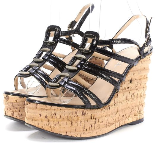 CHANEL Black Patent Leather Caged Cork Wedge Slingback Sandals