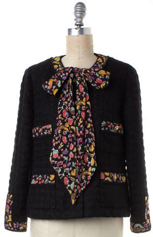 CHANEL Black Fruits Print Trim Neck Tie Tweed Jacket