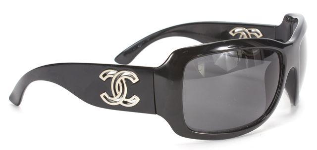 CHANEL Black Acetate Frame CC Logo Wrap Sunglasses