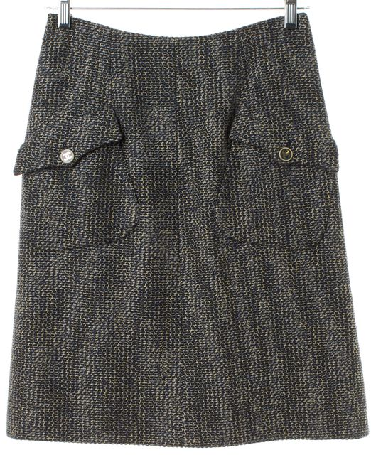 CHANEL 01 Autumn Blue Beige Tweed Wool Pocket Front A-Line Skirt