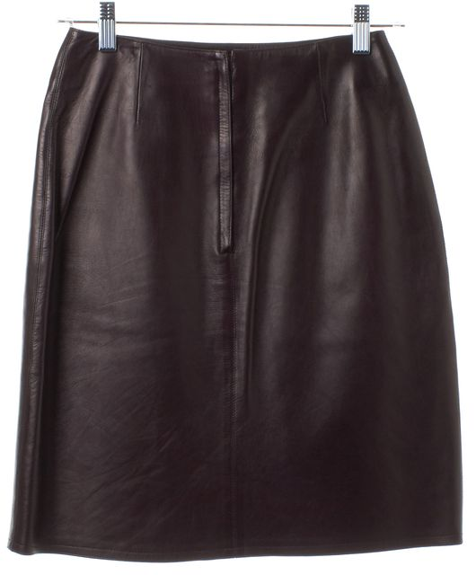 CHANEL Burgundy Purple Lambskin Skirt