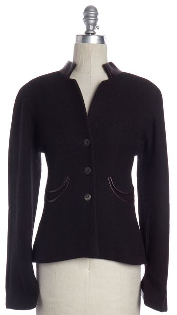 CHANEL Black Wool Leather Collar Panel Button Down Basic Jacket