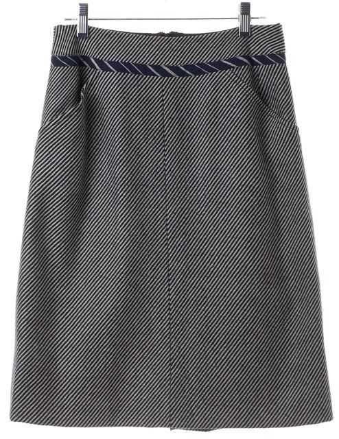 CHANEL Navy Blue White Nautical Straight Skirt