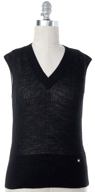 CHANEL 2001 Fall Black Wool Knit Tank Top