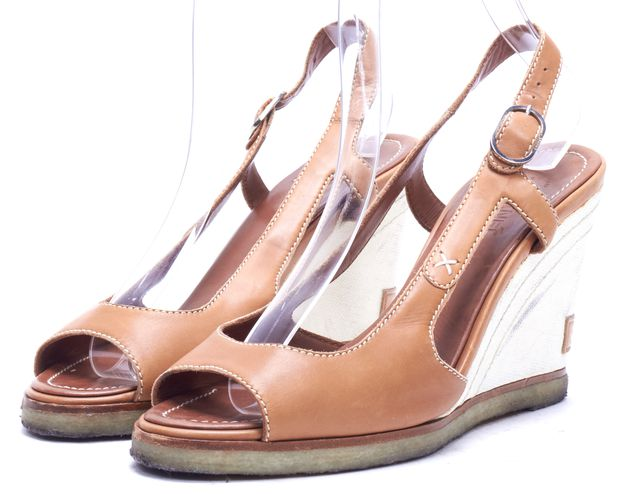 CHANEL Brown Leather Open Toe Slingback Wedges