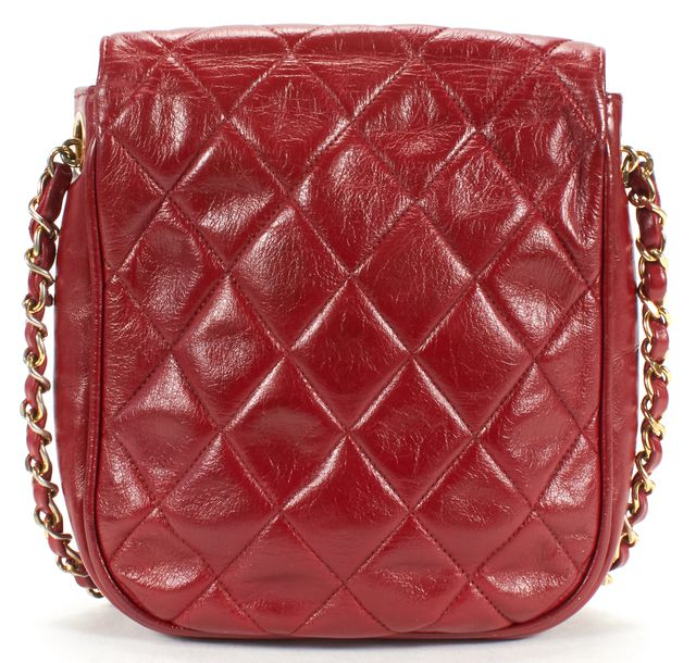 CHANEL Red Quilted Leather Mini Classic Shoulder Bag