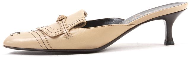 CHANEL Beige Leather Mules
