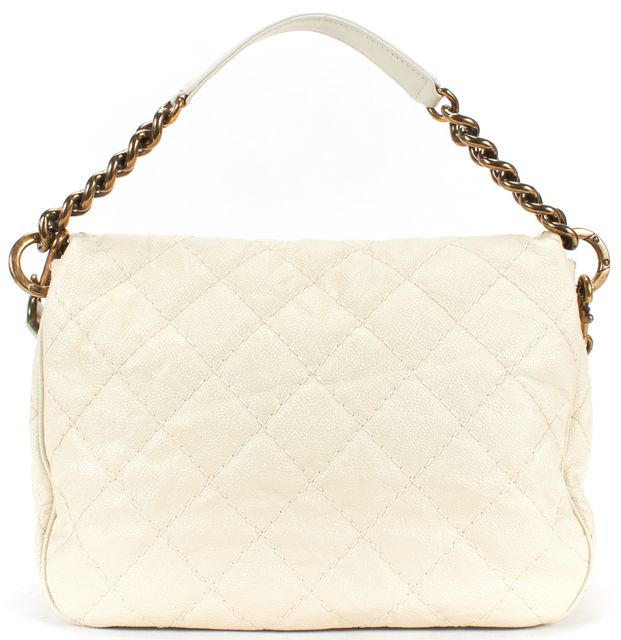 CHANEL White Quilted Caviar Leather COCO Pleats Satchel Bag