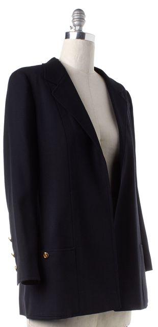 CHANEL 1996 Fall Navy Blue Wool Buttonless Blazer