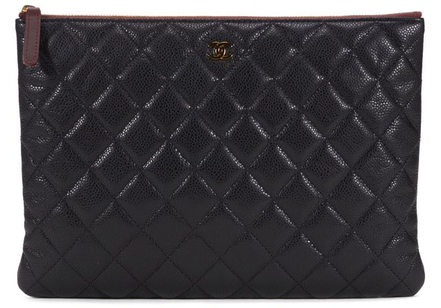 CHANEL Black Quilted Caviar Leather O Case Clutch