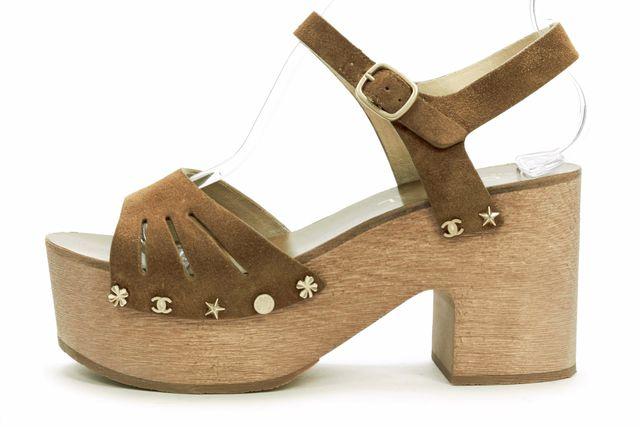 CHANEL Brown Suede Ankle Strap Platform Sandals