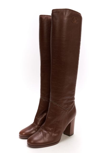 chanel brown leather knee high stacked heel boots size 35