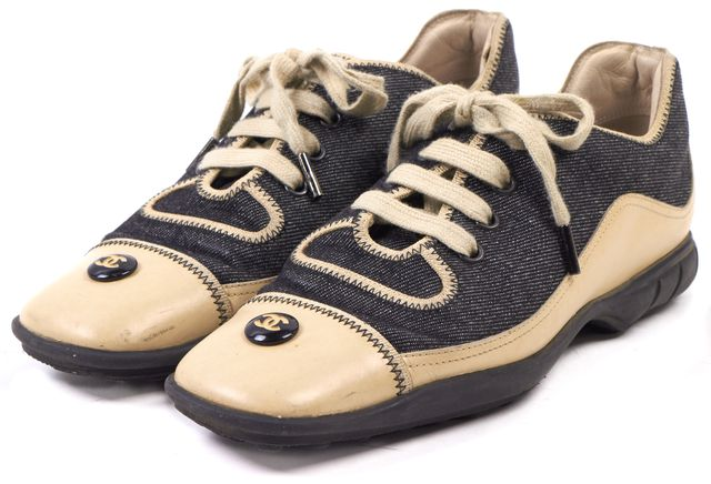 CHANEL Dark Blue Denim Leather Cap Toe Lace Up Sneakers