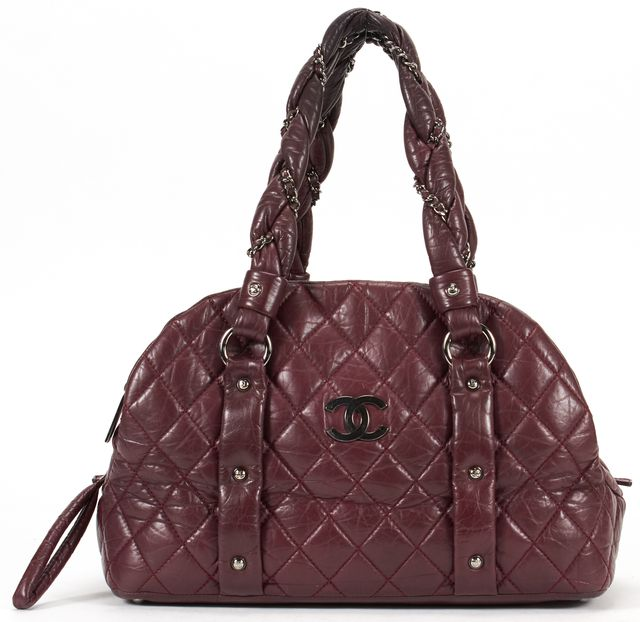 CHANEL Red Quilted Leather Lady Braid Bowler Shoulder Bag