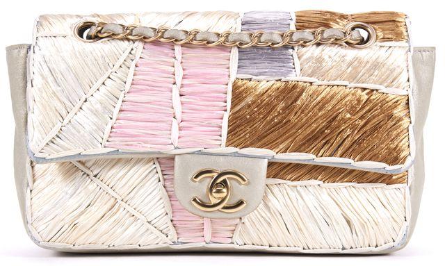 CHANEL Brown Pink Blue Raffia Nubuck Classic Flap Shoulder Bag