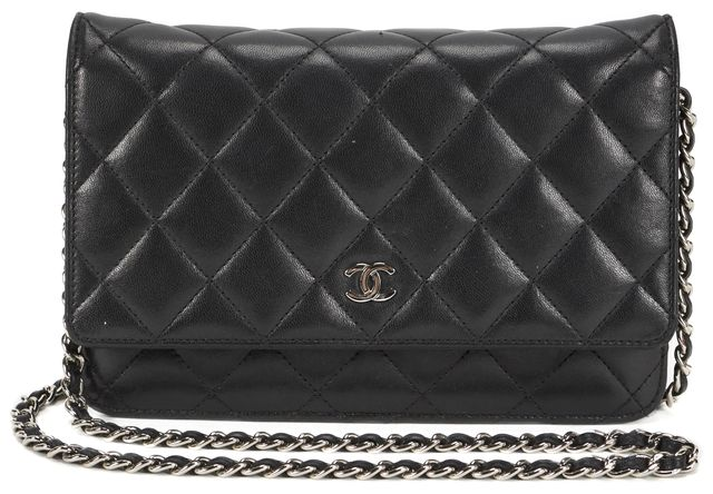CHANEL Black Quilted Leather Wallet On Chain Crossbody Bag