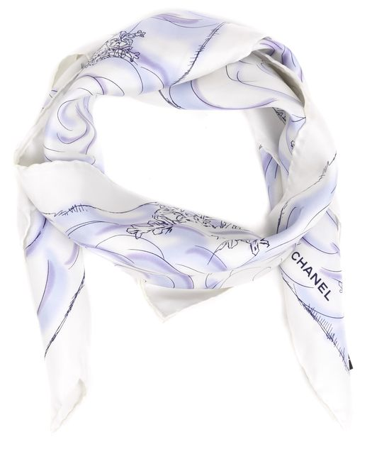 CHANEL White Navy Blue Polar Bear Graphic Silk Square Scarf
