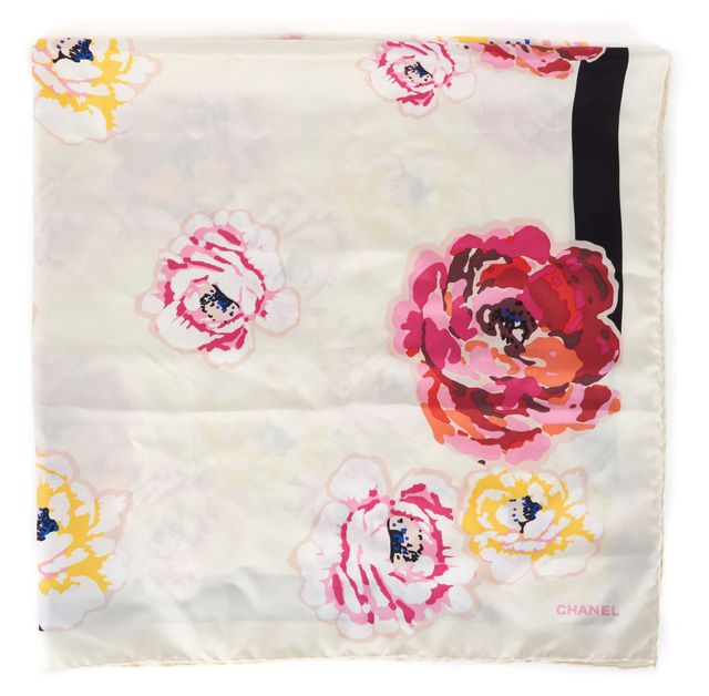 CHANEL White Pink Yellow Floral Silk Square Scarf