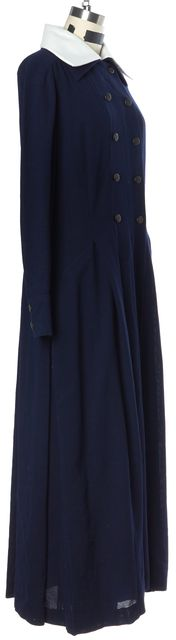CHANEL '93 Autumn Navy Blue Wool Full Length Trench Dress Coat
