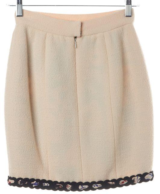 CHANEL Ivory Black Braid Trim Wool Pencil Skirt