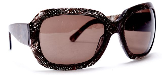 CHANEL Brown Acetate Floral Crosshatch Oversized Square Sunglasses