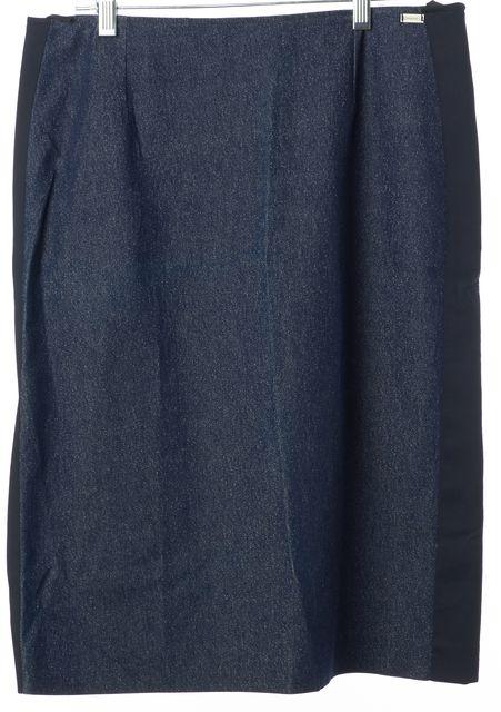 CHANEL Blue Denim Metallic Casual Straight Skirt