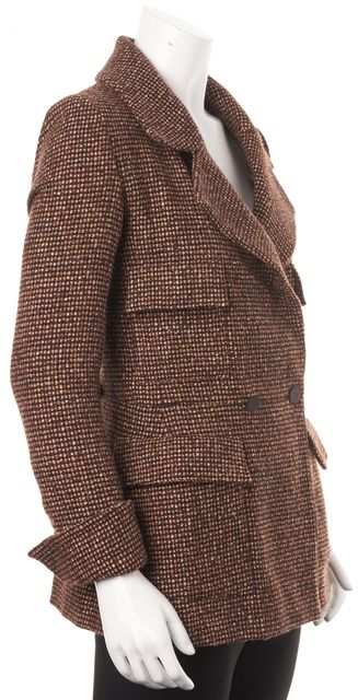 CHANEL '01 Autumn Brown Tweed Wool Long Double Breasted Jacket