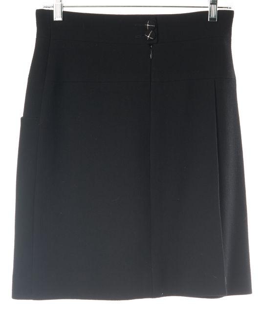 CHANEL '07 Autumn Black Wool Front Side Slit Straight Skirt