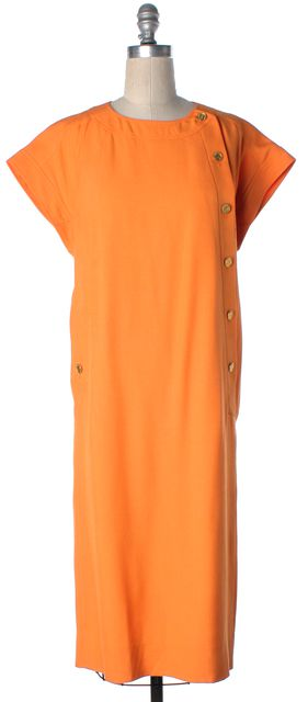CHANEL Orange Gold Button Side Casual Mid Calf Sheath Dress