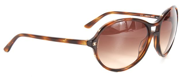 CHANEL Brown Tortoiseshell Gold CC Logo Acetate Round Sunglasses